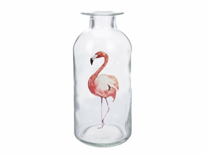 Φλαμίνγκο Flamingo Γυάλινο Διακοσμητικό Βάζο 10x19cm με στενό λαιμό σε σχήμα Μπουκαλιού - Cb