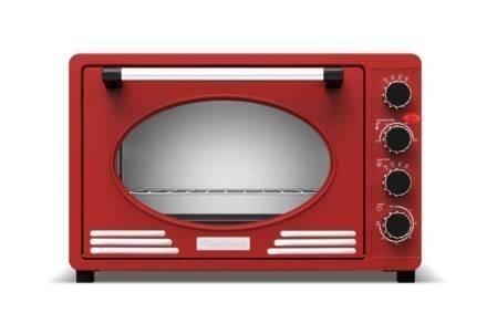 Ηλεκτρικός Retro Φούρνος Grill 45L 2000W με ταψί και πιρούνα ψησίματος σε Κόκκινο Χρώμα