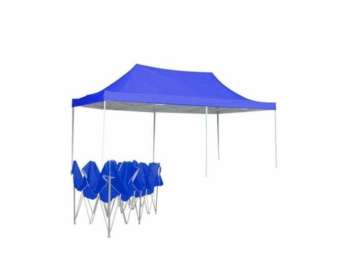 Γίγας Gazebo Πτυσσόμενο Κιόσκι Partytent Τέντα με Μεταλλικό σκελετό Τετράγωνο Αδιάβροχο σε Μπλε Χρώμα