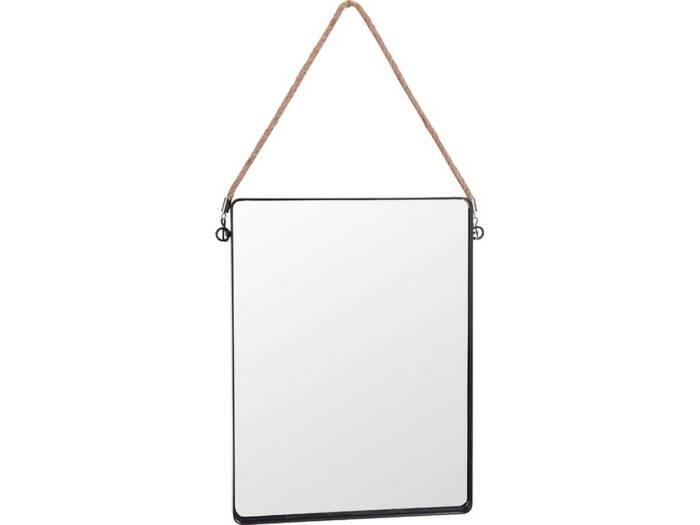 Μεταλλικός Καθρέπτης Τοίχου Τετράγωνος με Σχοινί σε μαύρο χρώμα