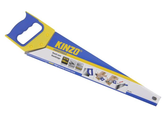 Kinzo πριόνι χειρός 500mm με πλαστική αντιολισθητική λαβή σε χρώμα μπλε - κίτρινο