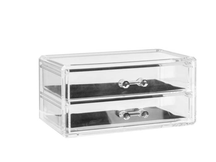 Διάφανη Κοσμηματοθήκη Μπιζουτιέρα με 2 συρτάρια