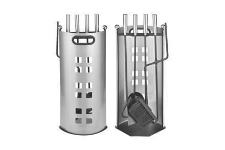 Σετ Inox Εργαλεία Τζακιού 5 τεμ. με Βάση αποθήκευσης από Ανοξείδωτο ατσάλι