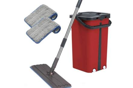 Cenocco Σύστημα Καθαρισμού με κουβά και Επίπεδη Αυτοκαθαριζόμενη Σφουγγαρίστρα Παρκετέζα σε κόκκινο χρώμα