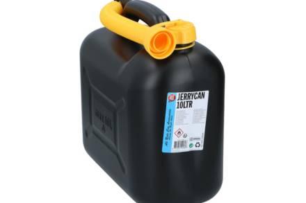 Κάνιστρο Δοχείο Μεταφοράς και Αποθήκευσης Καυσίμου με Σωλήνα Επέκτασης σε Μαύρο χρώμα 10L