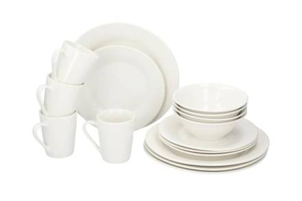 Alpina Σετ Κεραμικό Σερβίτσιο Φαγητού 16 τεμαχίων σε λευκό χρώμα