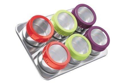 Luigi Ferrero Ανοξείδωτο σετ 6 τεμαχίων με μαγνητικά βαζάκια για μπαχαρικά με πολύχρωμα καπάκια και μαγνητική βάση