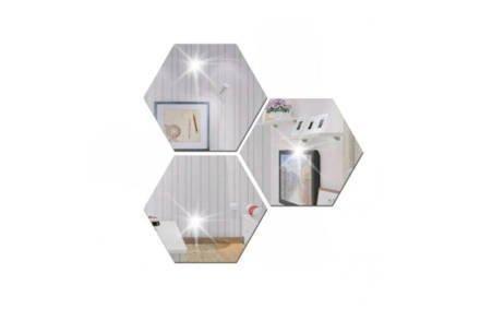 Σετ Επιτοίχιοι Καθρέπτες τοίχου 4 τεμαχίων σε εξάγωνο σχήμα