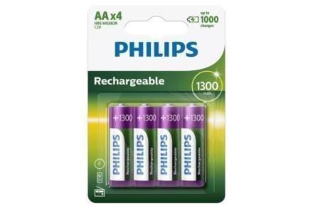 Philips Σετ Επαναφορτιζόμενες μπαταρίες AA 4 τεμαχίων 1300 mAh