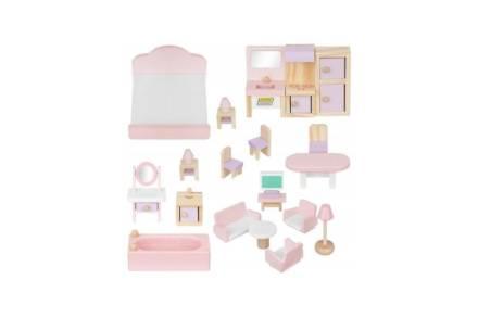 Σετ Ξύλινα έπιπλα για κουκλόσπιτο 22 τεμαχίων σε ροζ λευκό χρώμα