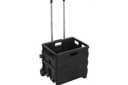 Τρόλεϊ Καροτσάκι για ψώνια Χωρητικότητας 18Kg από Καουτσούκ με Πτυσσόμενη Λαβή από Αλουμίνιο και Ρόδες σε Μαύρο χρώμα - Cb