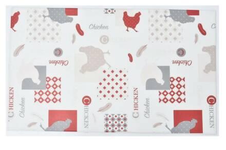 Πατάκι χαλάκι κουζίνας με Print σε Κόκκινες Αποχρώσεις Chicken