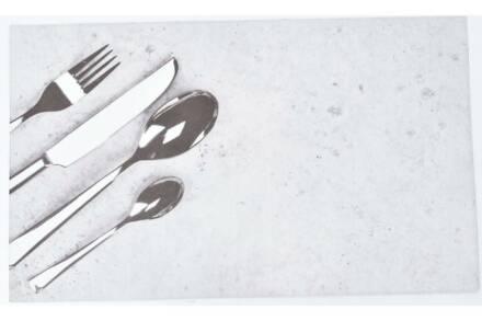 Πατάκι χαλάκι κουζίνας με Print σε Γκρι φόντο