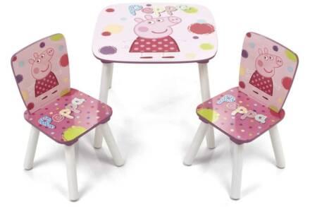 Ξύλινο Παιδικό Σετ Τραπεζάκι με 2 καρέκλες με θέμα Peppa το γουρουνάκι