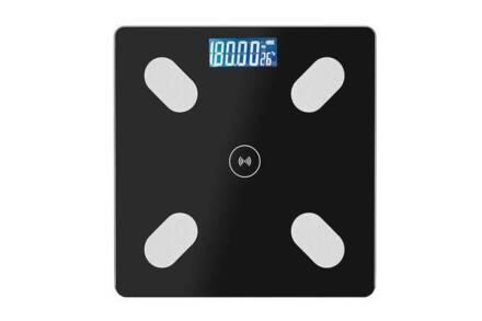 Γυάλινη Ψηφιακή Ζυγαριά Λιπομετρητής με Bluetooth σε μαύρο χρώμα