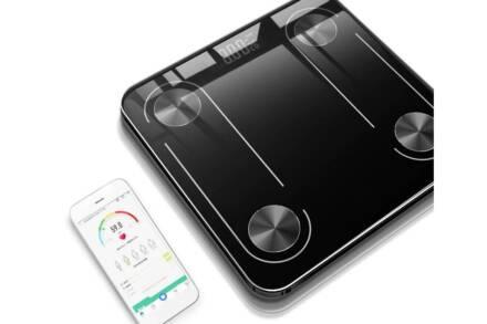 Γυάλινη Ψηφιακή Bluetooth Ζυγαριά Μπάνιου έως 180kg σε μαύρο χρώμα