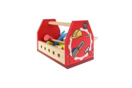 Σετ 16 τεμαχίων Ξύλινο βαλιτσάκι εργαλειοθήκη με εργαλεία