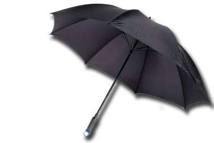 Ομπρέλα βροχής με Φακό και φωτάκι συνιάλου 3 σε 1 σε μαύρο χρώμα