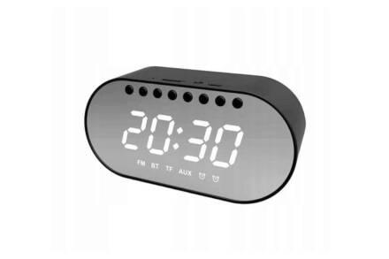 Ασύρματο Ηχείο Bluetooth 4.2 με εμβέλεια 10m και ρολόι σε μαύρο χρώμα