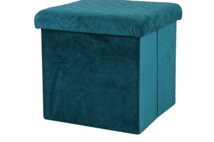 Βελούδινο Πτυσσόμενο Σκαμπό με αποθηκευτικό χώρο σε πετρολ χρώμα