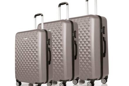 Hoffmanns Σετ 3 Βαλίτσες Ταξιδιού ABS με Τηλεσκοπικό Χερούλι