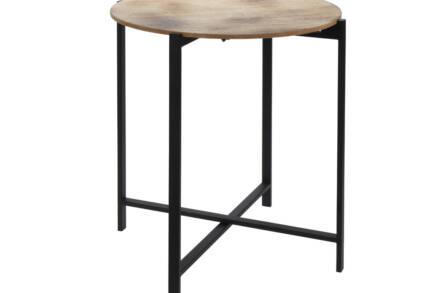 Μεταλλικό στρογγυλό τραπέζι Σαλονιού side table με μεταλλικά πόδια και ξύλινη επιφάνεια