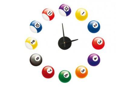 Μοντέρνο Ρολόι Τοίχου Αυτοκόλλητο DIY με μπάλες Μπιλιάρδου για Ενδείξεις