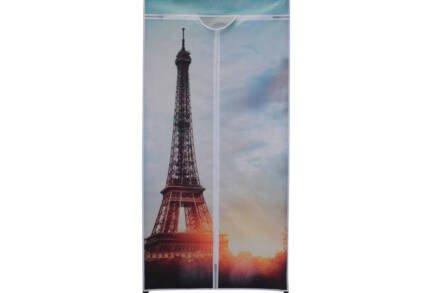 """Διπλή Φορητή Υφασμάτινη Ντουλάπα 75x45x160cm με Μεταλλικό Σκελετό και Απεικόνιση """"Πύργος του Eiffel"""" - Cb"""