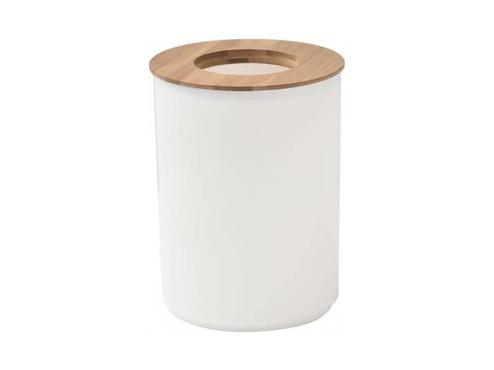 Κάδος Απορριμάτων χωρητικότητας 5L σε λευκό χρώμα με καπάκι από Bamboo