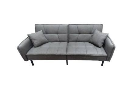 Τριθέσιος Καναπές κρεβάτι  με 3 θέσεις πλάτης και  με υφασμάτινη επένδυση σε γκρι χρώμα
