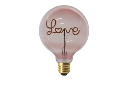 Γυάλινο Φωτιστικό Λαμπτήρας σε ροζ χρώμα με led επιγραφή Love