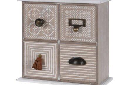 Ξύλινη Σύνθεση Οργανωτής με 4 συρτάρια σε μοντέρνα σχέδια ιδανικό για μικροαντικείμενα σε Φυσικό χρώμα
