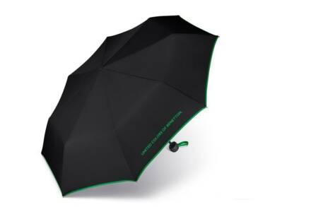Benetton Ομπρέλα Βροχής Αυτόματη Mini σε μαύρο χρώμα με πράσινη λεπτομέρεια