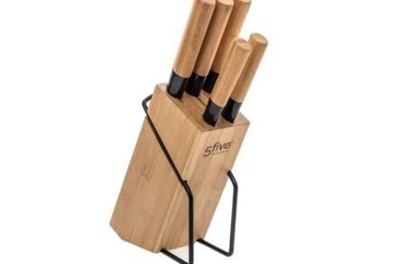 Σετ Μαχαίρια Κουζίνας 5 τεμ από Ανοξείδωτο ατσάλι και Bamboo με ξύλινη βάση - Aria Trade